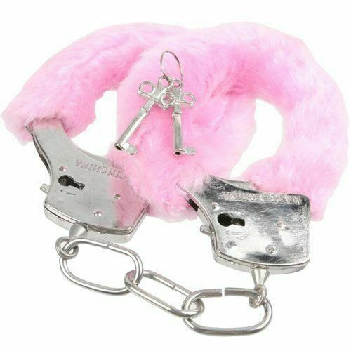 FURRY FLUFFY PINK BLACK RED METAL HANDCUFFS FANCY DRESS HEN NIGHT STAG PLAY TOYS