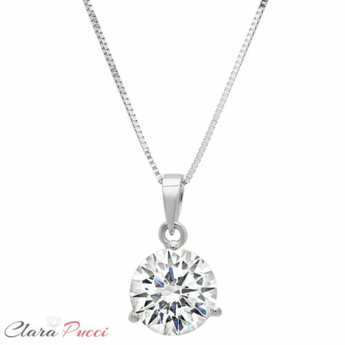"""Details about  /2 ct Round Cut Solitaire Clear Stone 18k White Gold Pendant with 18/"""" Box chain"""