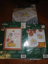 """Bucilla Baby Donna Dewberry"""" HAPPY FACES"""" Crib Cover, Birth Record, 2 Bibs"""