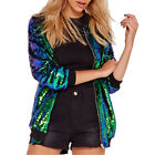 HaoDuoYi Womens Casual Lightweight Sequin Zipper Bomber Jacket Party Outwear