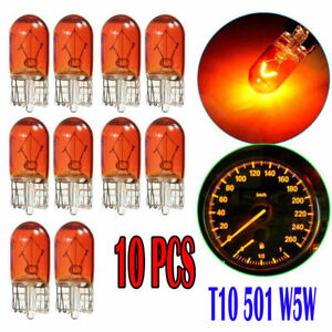 10x-Hot-W5W-T10-501-194-Side-Marker-Light-Amber-Glass-Bulb-Car-Halogen-Bulbs-12V