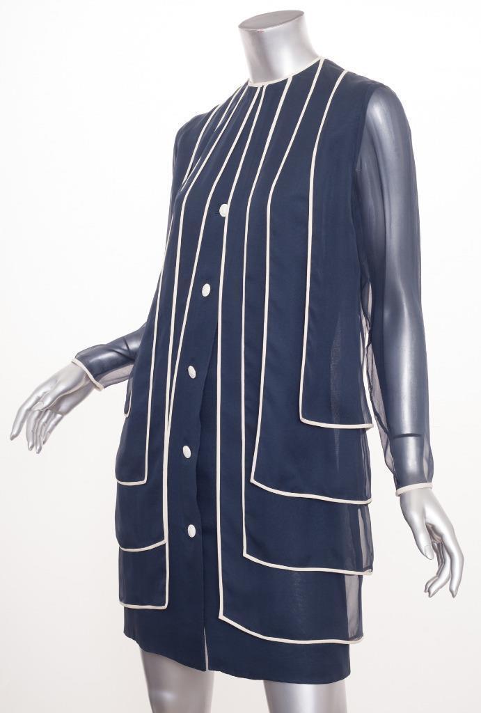 Galanos Vintage Damen Damen Damen Marineblau Chiffon Lagig Langarm Schiftkleid XS 4417cf