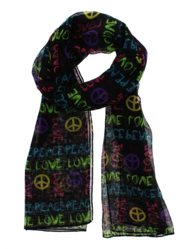 Zac/'s Alter Ego Long Lightweight Black Scarf with Multicolour Love /& Peace Print