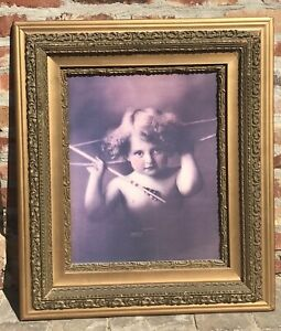 Antique-Plaster-Wood-Fame-Print-Cupid-Awake-1897-Parkinson-Large-30-034-1900s
