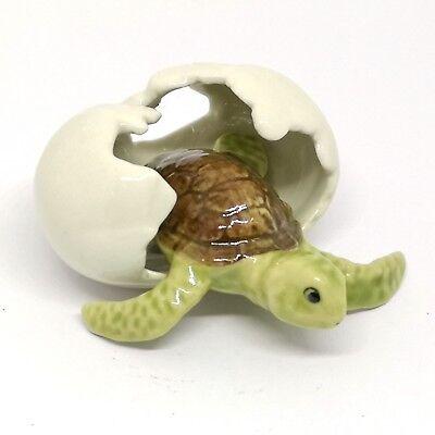 Porcelain Miniature Collectible Ceramic Mini Turtle in Egg Figurine Aquarium