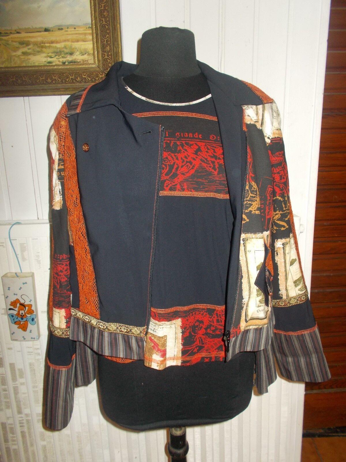 Veste blazer et top  tee shirt PAUSE CAFE 42 44 black imprimé bi-matières stretch