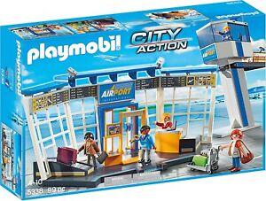 Conjunto de Juego Playmobil 5338 ciudad Aeropuerto de acción con torre de control & Figuras-Nuevo