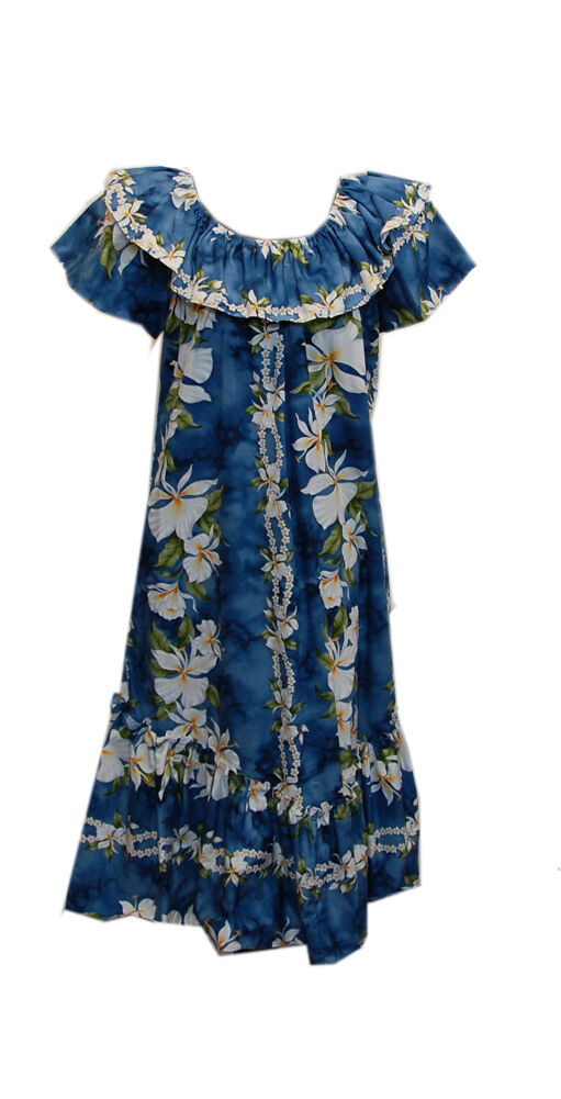 Hawaiian Party Short Traditional Ruffle Ginger Flower Blau Muumuu Dress-S-4X
