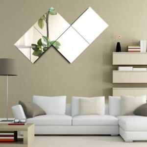 4X 40cm Square Glass Mirror Tiles Wall Stickers Self ...