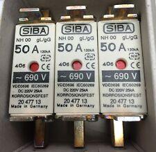SIBA fuse - NH00 - 50amp 2047713  20 477 13 NEW Made in Germany - Box of 3