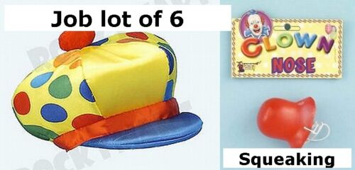 Job Lot of 6 Clown Hat Cap Squeaking Nose Fancy Dress Prop Stag Night Hen party