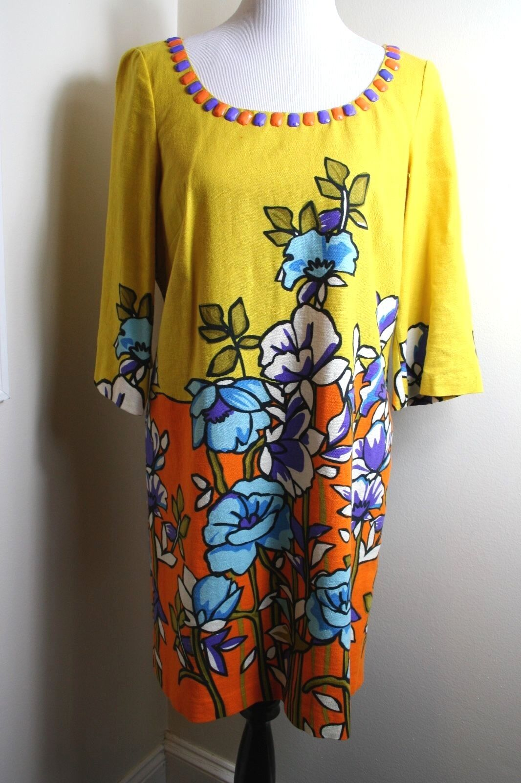 Eci New York LINEN Yellow Floral 3 4 Bell Sleeve Shift Dress Beaded Retro Sz 8