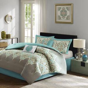 wonderful gray green bedroom bedding | Deluxe Cotton Teal Grey Green Paisley comforter 6 pcs King ...