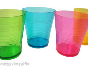 Plastic-Outdoor-Tableware-Tumblers-Plates-Bowls-Wine-Glass-Mixed-Colours