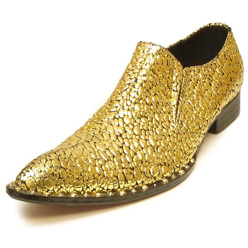 online economico FI-7009 oro Genuine Leather Studded Pointed toe Slip Slip Slip on Loafer  compra nuovo economico