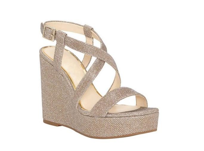 Jessica Simpson Salona Womens gold Platform Wedge Sandal Sz 8.5 1399