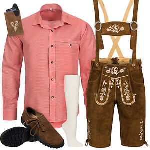 Trachtenset-Herren-Trachtenlederhose-mit-Tracht-Traeger-Hemd-Schuhe-Socken-Tasche