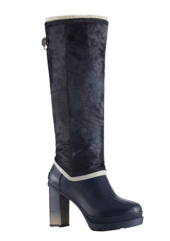 NEW SOREL Medina IV Premium Boot Women's 8 Collegiate Navy Black MSRP: 350