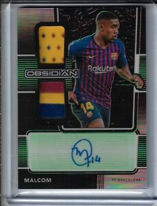 2020 21 Panini Obsidian Soccer Malcom DUAL PATCH GREEN AUTO #5/25 Barcelona