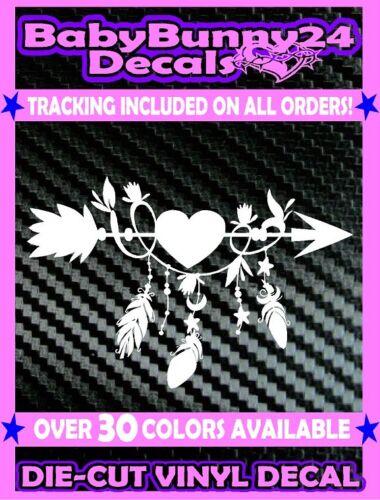 Arrow Feathers Native American heart DECAL Sticker Car Truck Laptop Window