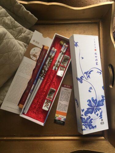 2 Paar Keramik Essstäbchen Drachen Blumen Doppelpack Esstäbchen Porzellan Sushi