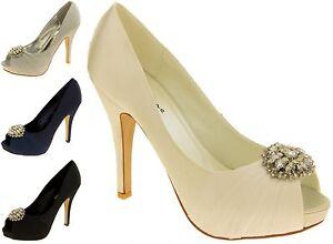 Femme Sabatine Satin Strass Cluster Mariage Chaussures Tailles 3 4 5 6 7 8-afficher Le Titre D'origine Artisanat Exquis;