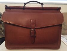 LL Bean Saddle Brown Leather Messenger Bag Briefcase AWESOME CONDITION! L.L.