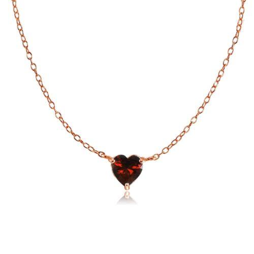 Dainty Grenat petits cœur collier tour de cou en plaqué or rose argent sterling