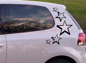 3D-Sterne-Auto-Aufkleberset-23cm-12cm-und-8cm-5-Sterne-je-Seite