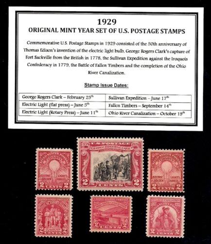 1929 YEAR SET OF MINT -MNH- VINTAGE U.S. POSTAGE STAMPS