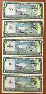 EL SALVADOR BANKNOTES 1 COLON 3-JUN-82 SERIE GD CONSECUTIVE 3 NOTES VF