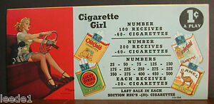 Punchboard-Gaming-Label-Cigarette-Girl-Del-Masters-Girl-Driving-With-Dog-1-cent