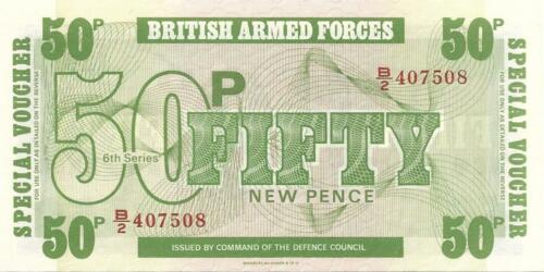 UK ARMED FORCES 50 Pence PM 49; UNC from 1972; FREE SHIPPING Canada USA