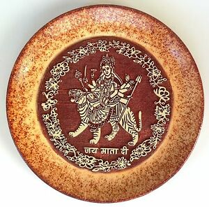 Indian-7-Terracotta-Durga-Plate-Art-Handmade-Clay-Pottery-Home-Decor-Folk-Art