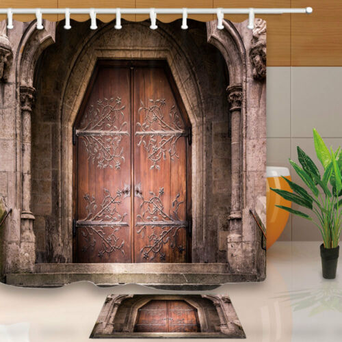 Medieval Wooden Church Bathroom Fabric Shower Curtain Set Waterproof  71Inches