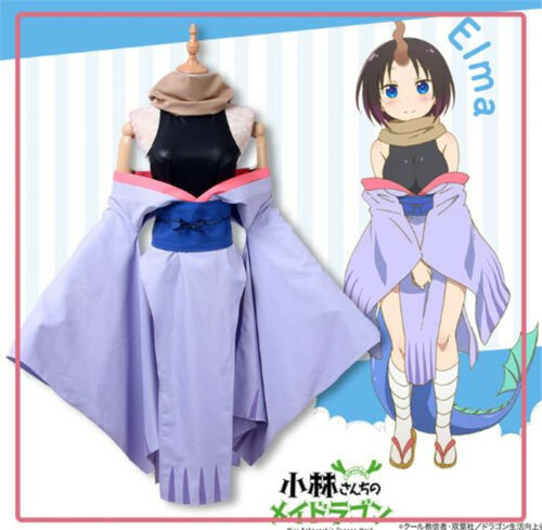 Miss Kobayashis Dragon Maid Elma Cosplay Costume Dress Tail Horn Full set Outfit