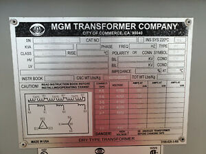 Details about MGM 750/1000 kVA Dry Type Transformer 4160 D - 480 Y on