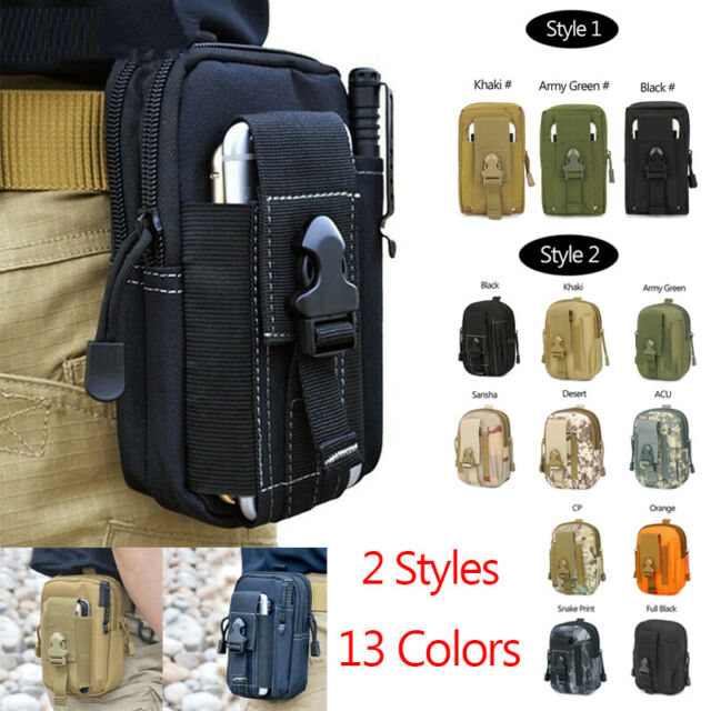 Leather Men Sport Tactical Molle Pouch Belt Waist Pack Bag Waist Fanny Pack
