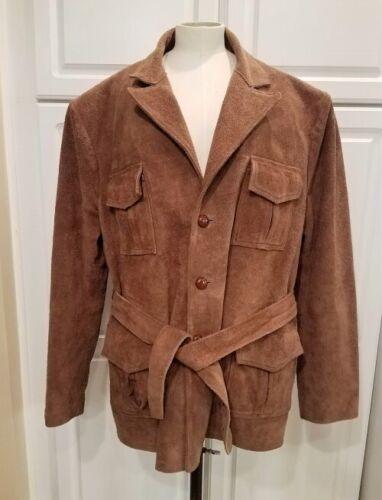 Cool BeigeBrown Mens Suede Vintage CoatJacket With Big Collar  Teddy Lining