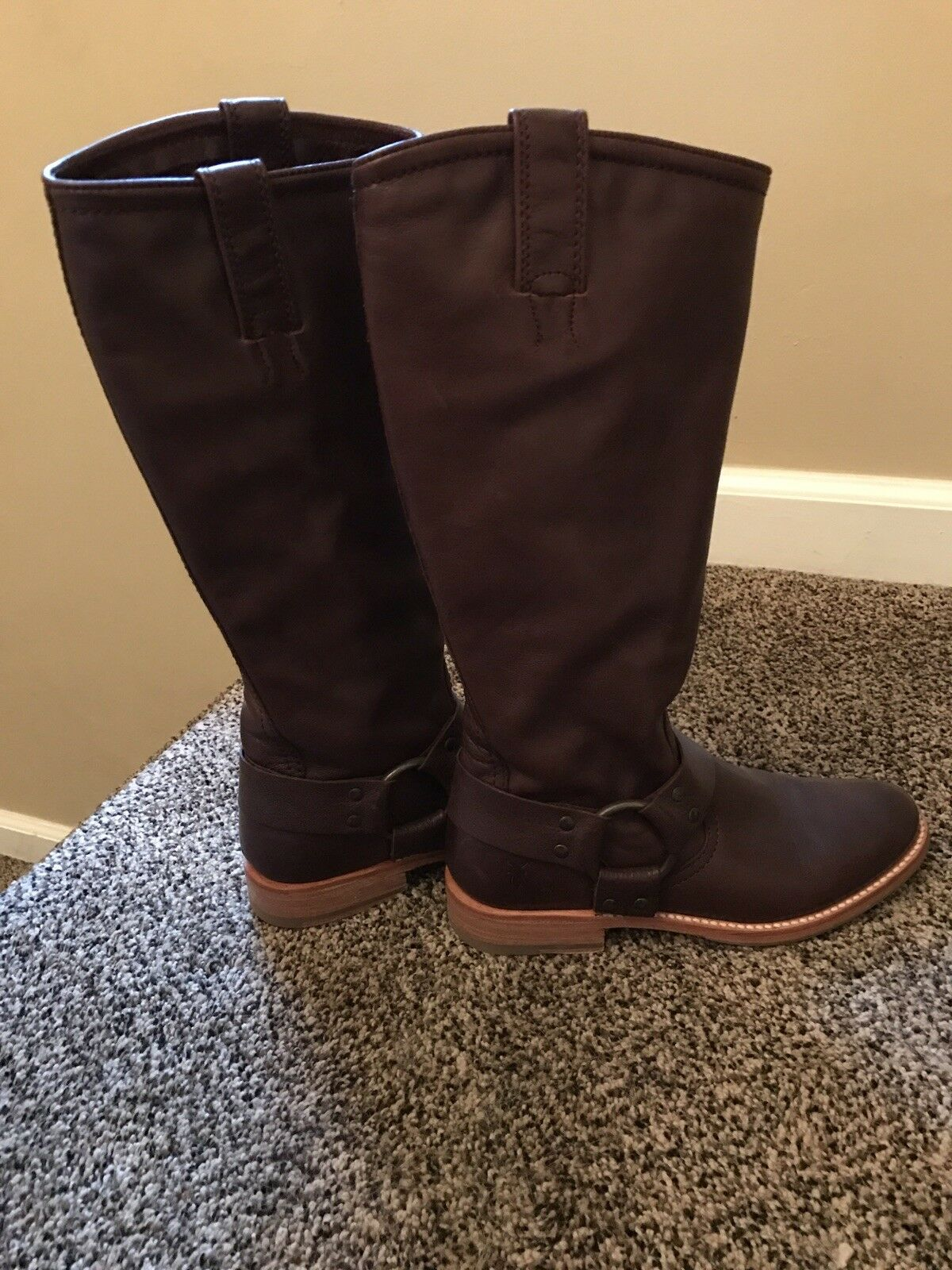 womens brown Frye harness boots size 5.5 EUC