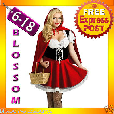 J6 Ladies Little Red Riding Hood Storybook Fancy Dress Halloween Costume Outfit