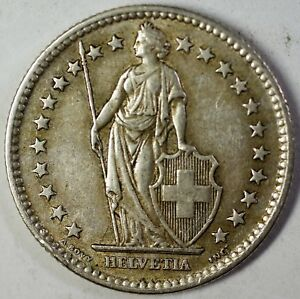 1959-B-Switzerland-2-Francs-Average-Circulated-Helvetia-Silver-Coin