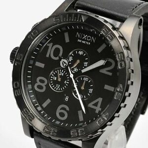 NIXON-A124-001-A124001-Watch-Mens-51-30-CHRONO-Leather-All-Black-AUTHENTIC-NEW