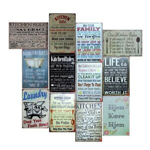 Image Is Loading Kitchen Rules Vintage Metal Tin Signs Retro Plate