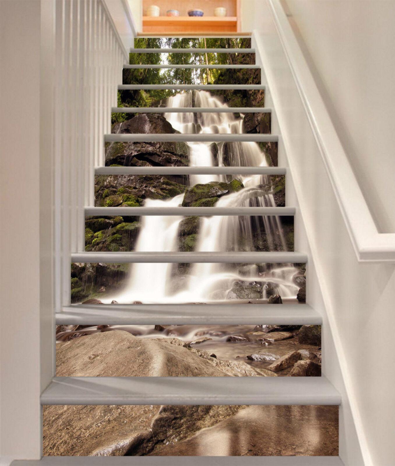 3D Wasserfall 243 Stair Risers Dekoration Fototapete Vinyl Aufkleber Tapete DE