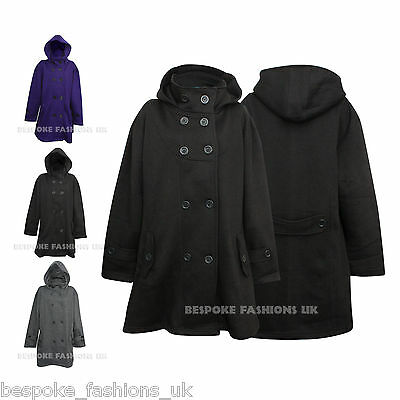 Neu Damen ' S Plus Größe Doppelreihig Fleece Mit Kapuze Mantel Jacke