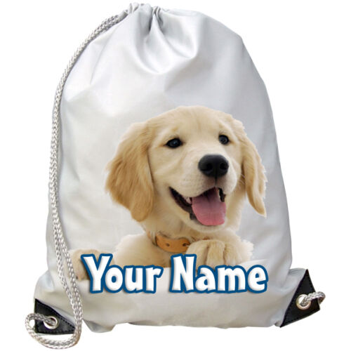 PUPPY PERSONALISED GYM SWIMMING DANCE BAG /& NAMED GOLDEN RETRIEVER  DOG