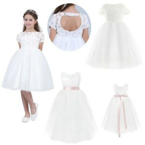 Flower Girl Dress Lace Princess Pageant Bridesmaid Wedding Communion Party Gown
