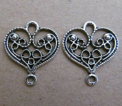 20pc Tibetan Silver Hollow out Peach Hearts Accessories Jewelry Findings  PL030