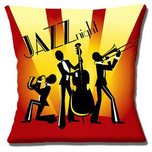 neuen-Jahrgang-Retro-Jazz-Nacht-Silhouette-Trio-gelb-rot-40-6cm-Kissenbezug